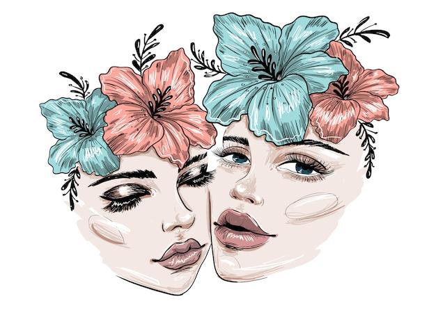 Dos hermosas caras con flores y maquillaje Vector Premium