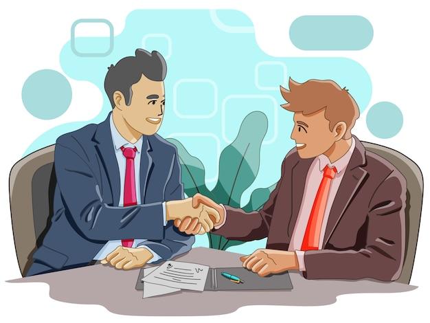 Dos hombres dándose la mano para llegar a un acuerdo Vector Premium