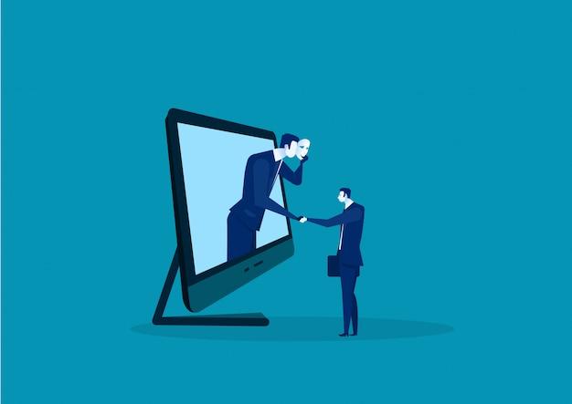 Dos hombres de negocios dando apretón de manos escondido en la máscara. fraude comercial y acuerdo hipócrita. Vector Premium