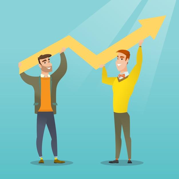 Dos hombres de negocios que llevan a cabo el gráfico del crecimiento. Vector Premium