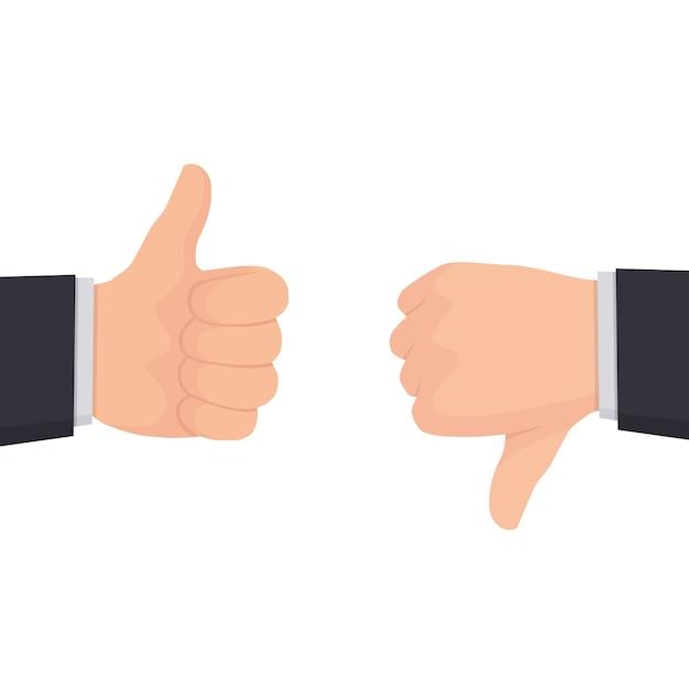 Dos manos mostrando los pulgares hacia arriba y hacia abajo signos | Vector  Premium