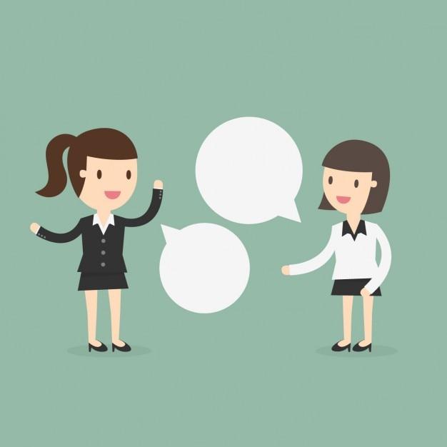 Dos mujeres de negocios hablando Vector Gratis