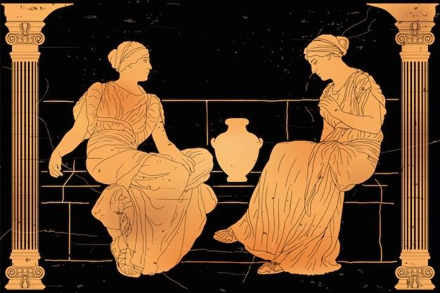 Dos mujeres griegas antiguas se sientan en un parapeto de piedra con una jarra y se comunican. Vector Premium