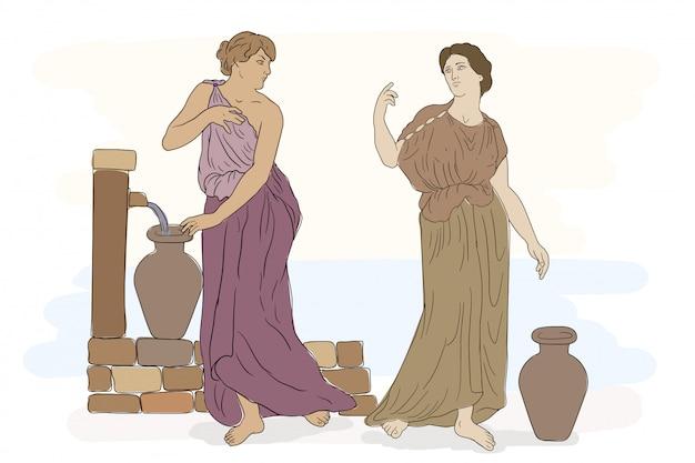 Dos mujeres griegas antiguas con túnicas recogen agua en jarras. Vector Premium