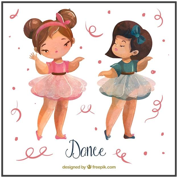 Dos niñas pequeñas bailando ballet vector gratuito