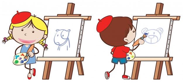 Dos niños dibujando en lienzo | Descargar Vectores Premium