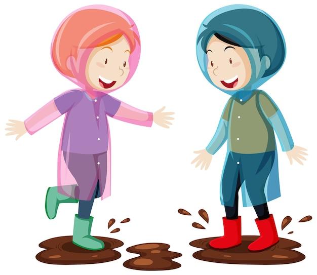 Dos niños con impermeable saltando en estilo de dibujos animados de barro aislado en blanco vector gratuito