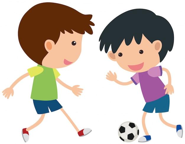 Dos Ninos Jugando Futbol Descargar Vectores Premium