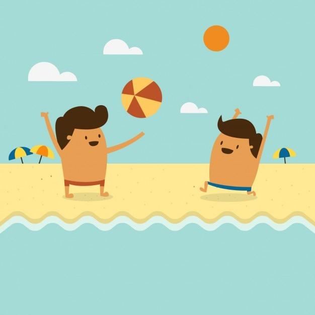Dos Niños Jugando En La Playa Descargar Vectores Gratis