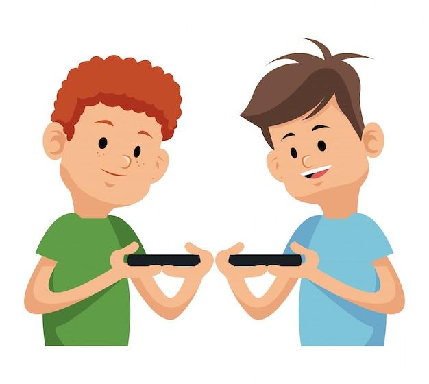 Dos Ninos Jugando Videojuegos Con Telefono Moblie Descargar