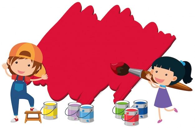 Dos ni os pintando la pared con color rojo descargar - Ninos pintando con las manos ...