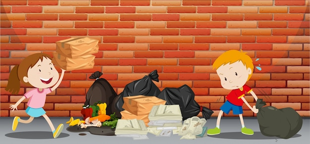 Dos Niños Tirando Basura En La Calle