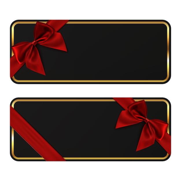 Dos pancartas negras. plantillas de tarjetas de regalo con lazo rojo y lazo. perfecto para folletos, volantes o carteles. Vector Premium
