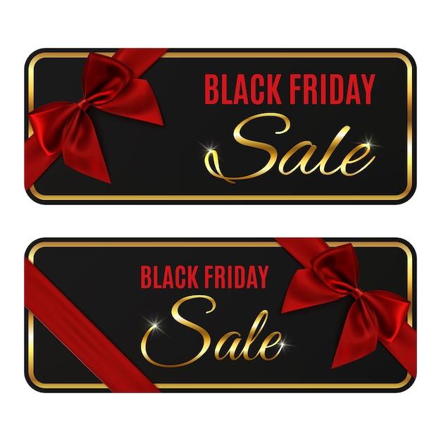 Dos pancartas de venta de viernes negro aisladas sobre fondo blanco. Vector Premium
