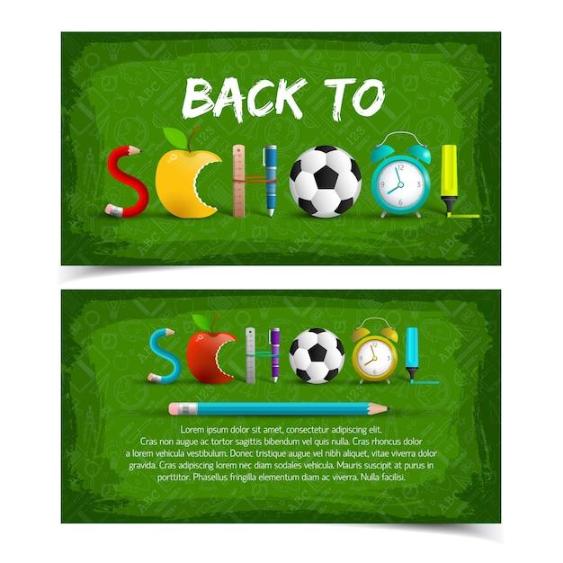 Dos pancartas verdes horizontales de regreso a la escuela. vector gratuito