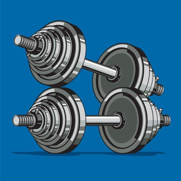 Dos pesas sobre fondo azul. Vector Premium