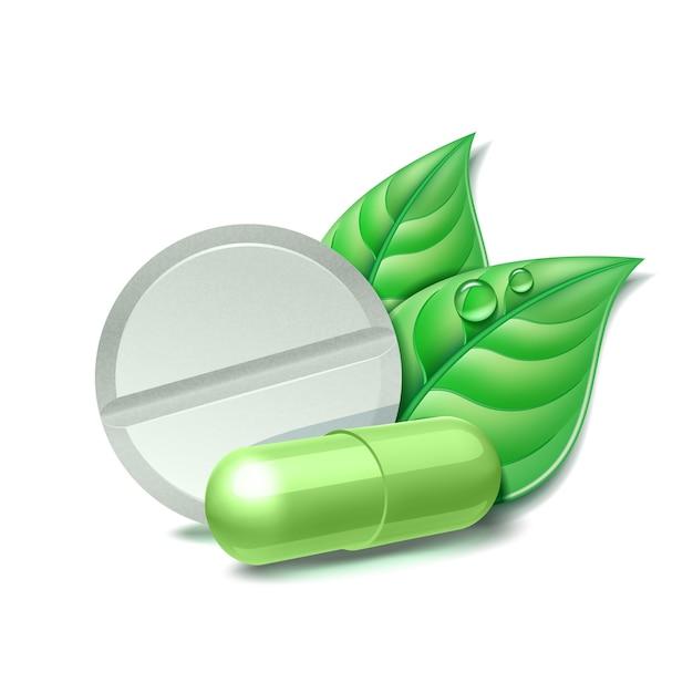 Dos píldoras médicas naturales con hojas verdes. símbolo farmacéutico con hoja para farmacia, medicina homeopática y alternativa. ilustración, aislado sobre fondo blanco Vector Premium
