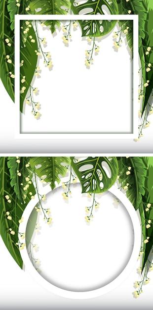 Dos plantillas de cuadro con fondo de hojas verdes | Descargar ...