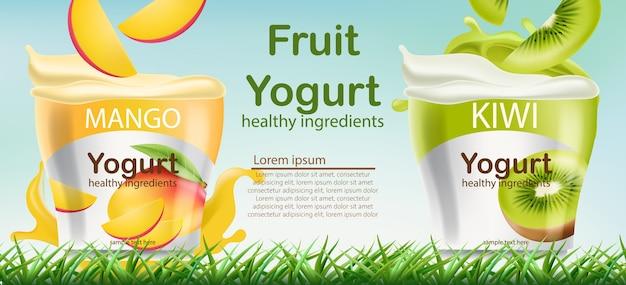 Dos recipientes con yogur de mango y kiwi sobre césped vector gratuito