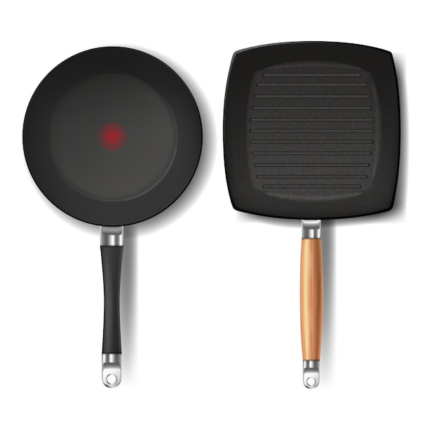 Dos sartenes negras realistas, forma redonda y cuadrada, con indicador rojo termo-punto vector gratuito