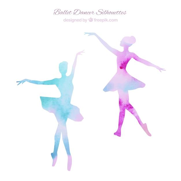Dos siluetas de bailarinas vector gratuito