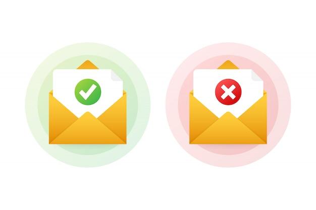 Dos sobres con cartas aprobadas y rechazadas. ilustración. Vector Premium