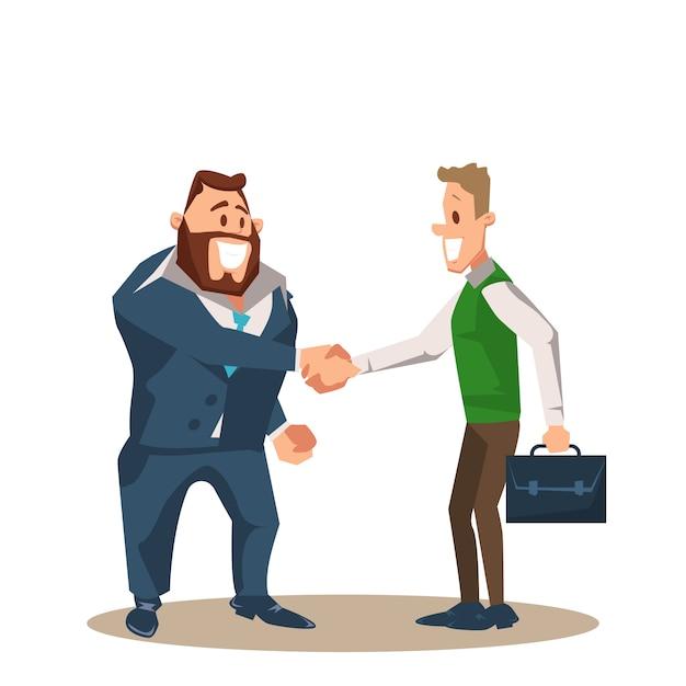 Dos sonrientes hombre de negocios carácter shake mano Vector Premium