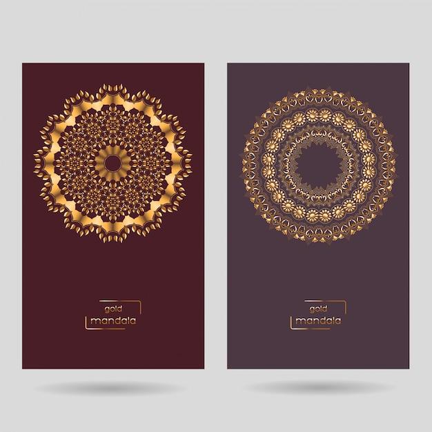 Dos tarjetas ornamentales con mandala. Vector Premium