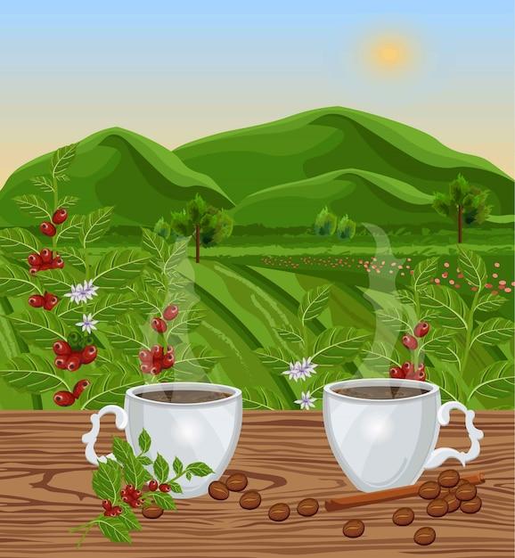 Dos tazas de café con vista al paisaje vector. los campos verdes de los granos de café cosechan Vector Premium