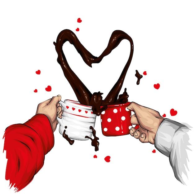 Dos tazas y un chorro de café en forma de corazón. ilustración. Vector Premium
