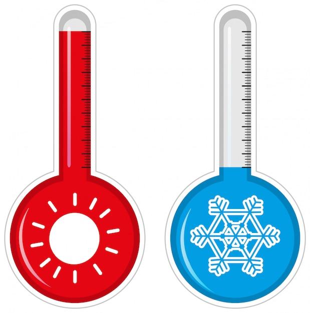 Dos termómetros para clima cálido y frío. vector gratuito