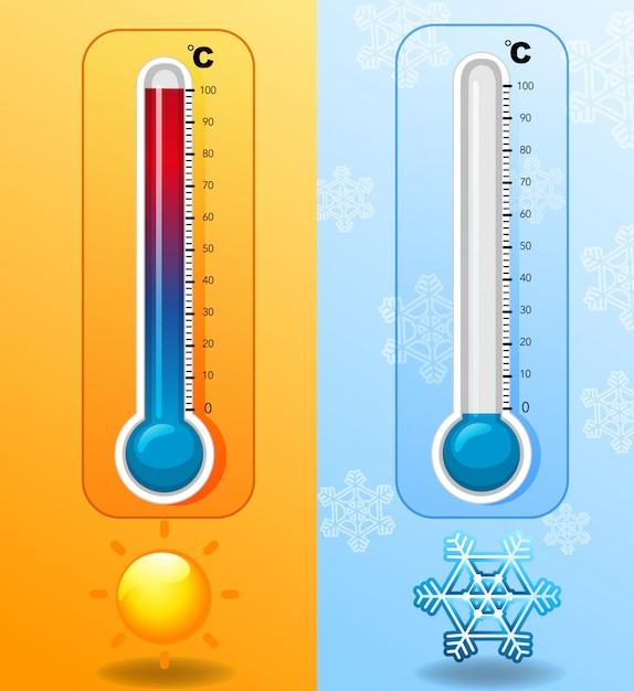 Dos termómetros en climas cálidos y fríos. vector gratuito