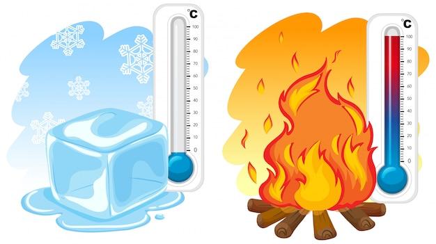 Dos termómetros para invierno y verano. vector gratuito