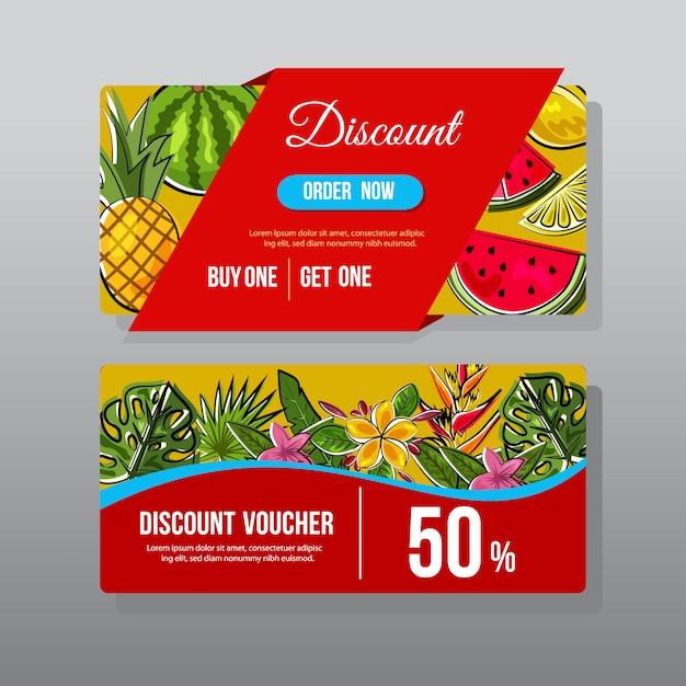 Dos vales de descuento con diseño de verano Vector Premium
