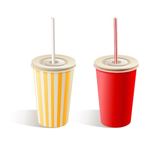 Dos vasos de papel de comida rápida con pajitas sobre fondo blanco. ilustración Vector Premium