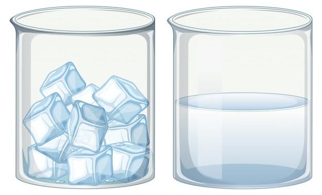 Dos vasos de vidrio llenos de hielo y agua. vector gratuito