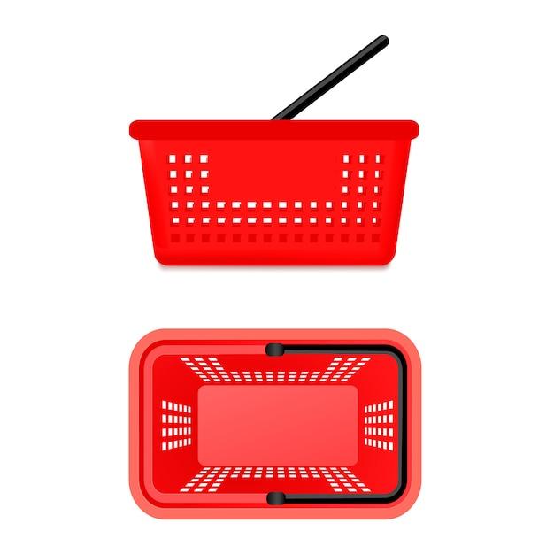 Dos vistas de la cesta del supermercado vector gratuito