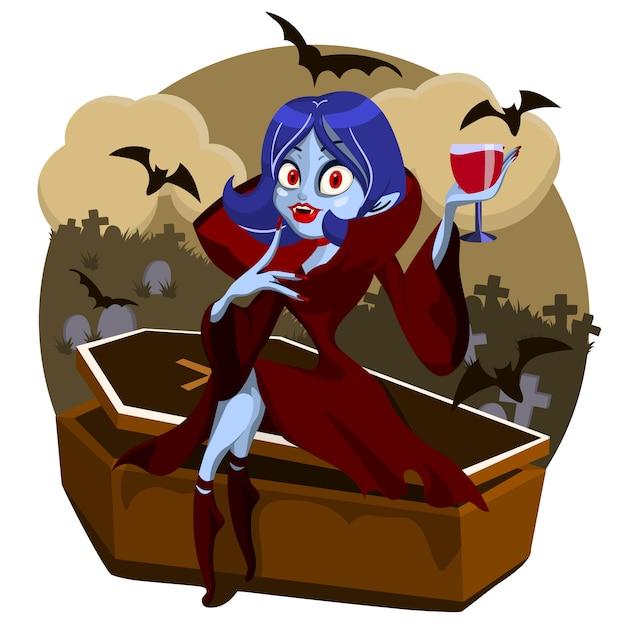 Drácula mujer sentada en ataúd Vector Premium