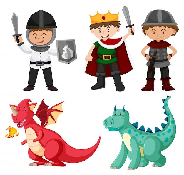 Dragón y carácter amable. vector gratuito