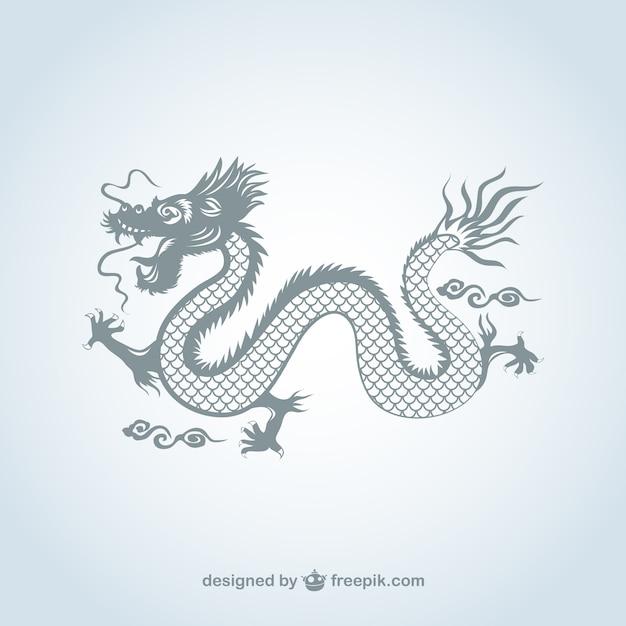 Dragón chino de color gris vector gratuito