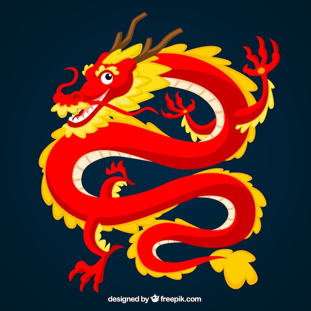 Dragón chino tradicional vector gratuito