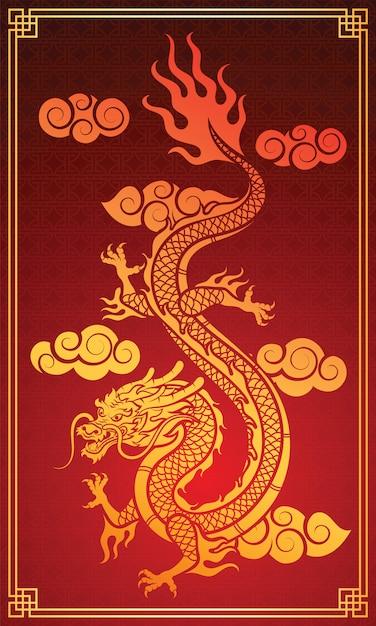 Dragon chino Vector Premium
