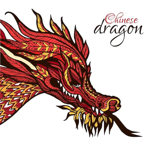 Dragón dibujado a mano vector gratuito