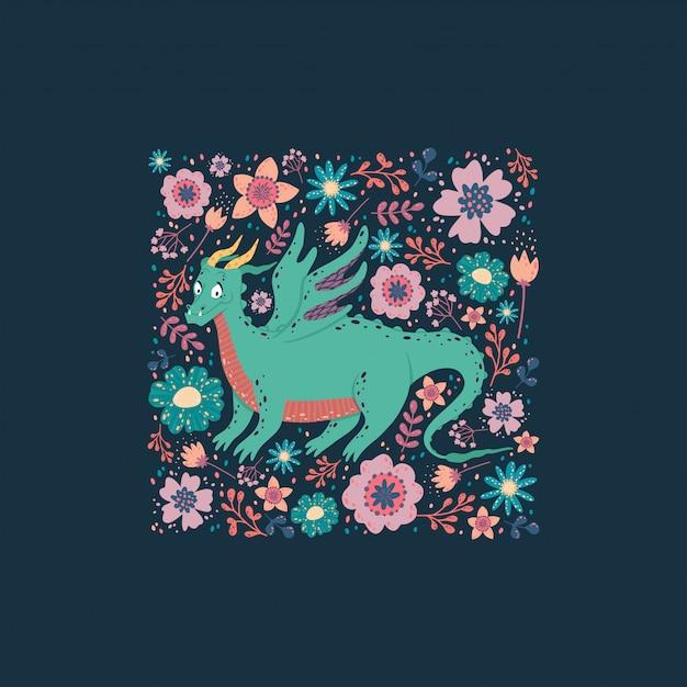 Dragón con el diseño de la tarjeta de flores. fondo infantil con un dragón en un marco cuadrado. Vector Premium
