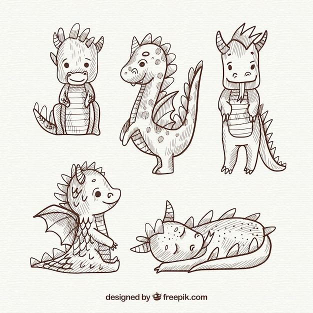 Dragones dibujados a mano con estilo adorable | Descargar Vectores ...