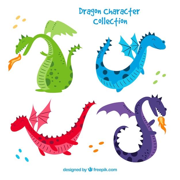 Dragones dibujados a mano con estilo adorable vector gratuito