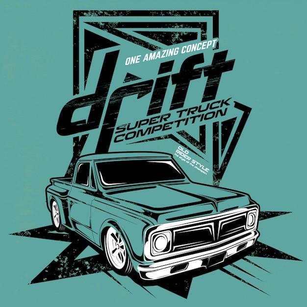 Drift super truck competition, ilustración del camión de motor súper rápido Vector Premium