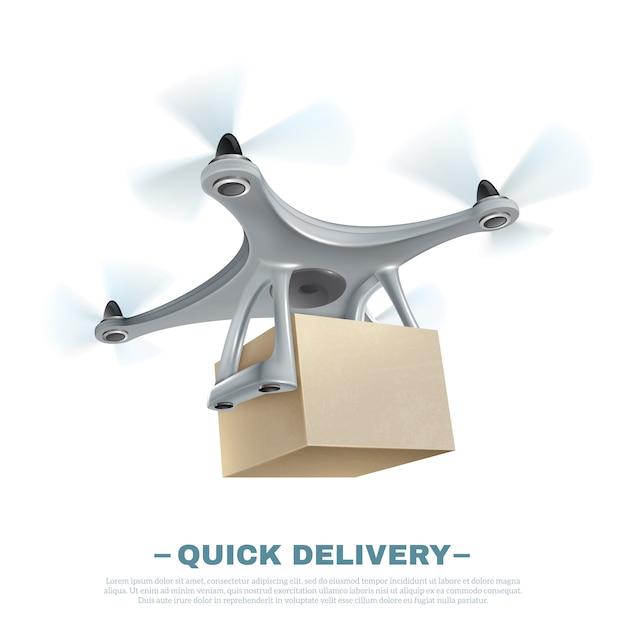 Dron de entrega realista vector gratuito