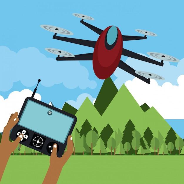 Drone volando en la naturaleza Vector Premium