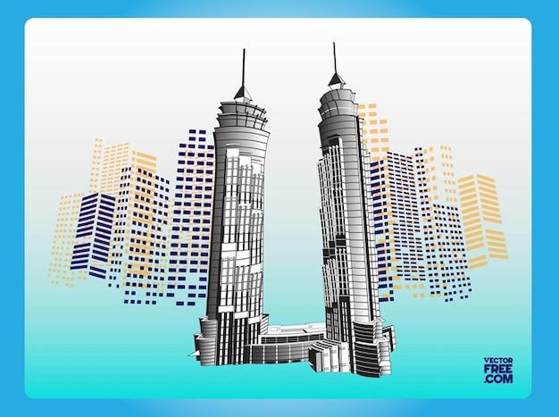 dubai rascacielos hotel edificios vector vector gratis